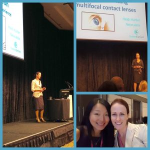 Heidi on stage presenting on Multifocal Contact Lenses